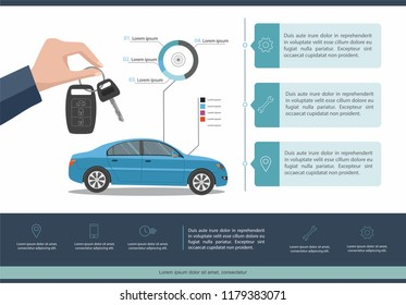 Car auto service template infographic.  Business infographic with car.