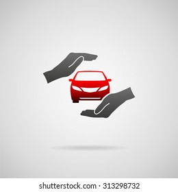 Car (automobile) insurance and collision damage waiver concepts. Vector icon of car in hands in protective gesture.