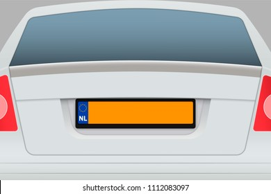 Car Back View with number plate. Vehicle registration plates of Netherlands