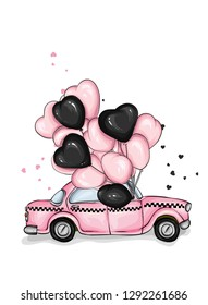 Car with balloons in the shape of hearts. Taxi. Vector illustration for greeting card or poster. Love, friendship, Valentine's Day.