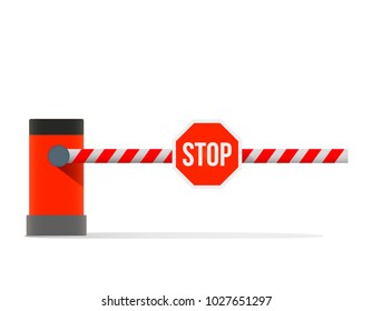 """A car barrier with the sign """"stop"""". flat vector illustration isolated on white background"""