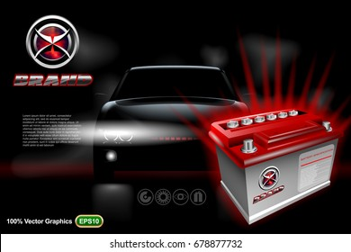 Car battery ads template with brand logo on dark background with vehicle. Realistic 3D vector image.