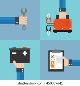 Car battery charger concept flat design.Vector illustration