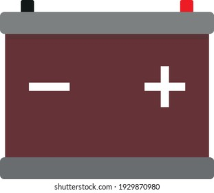 Car battery. Drawing in a flat style.