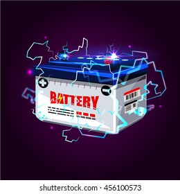 Car battery with electric sparks lighting effect. power energy concept - vector illustration