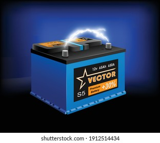 Car battery and electrical discharge on dark background. 3d illustration, vector
