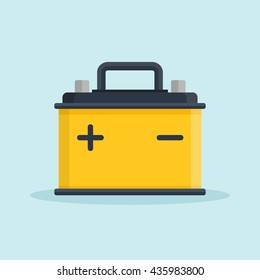 Car Battery icon. Accumulator battery energy power and electricity accumulator battery. Battery accumulator car auto parts electrical supply power in flat style.