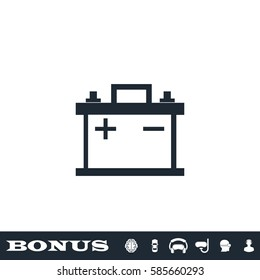 Car battery icon flat. Black pictogram on white background. Vector illustration symbol and bonus button
