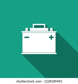 Car battery icon isolated with long shadow. Accumulator battery energy power and electricity accumulator battery. Flat design. Vector Illustration