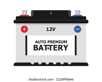 Car Battery icon isolated on white background. Accumulator energy power and electricity accumulator. car auto parts electrical supply power in flat style.