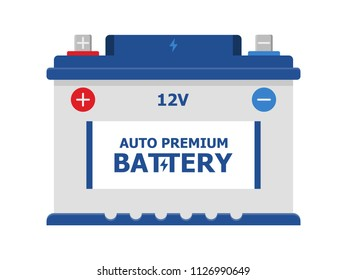 Car Battery icon isolated on white background. Accumulator energy power and electricity accumulator . car auto parts electrical supply power in flat style.