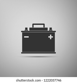Car battery icon isolated on grey background. Accumulator battery energy power and electricity accumulator battery. Flat design. Vector Illustration