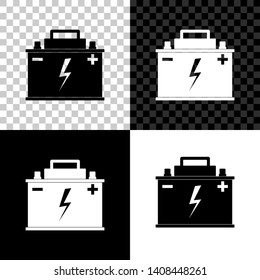 Car battery icon isolated on black, white and transparent background. Accumulator battery energy power and electricity accumulator battery. Lightning bolt symbol. Vector Illustration