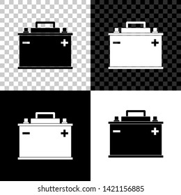 Car battery icon isolated on black, white and transparent background. Accumulator battery energy power and electricity accumulator battery. Vector Illustration