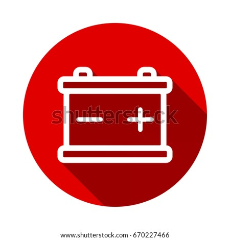 Car Battery Icon Isolated On Red Stock Vector Royalty Free