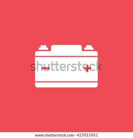 Car Battery Icon On Red Background Stock Vector Royalty Free