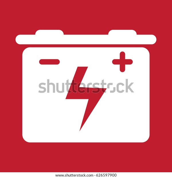 Car Battery Icon On Red Background Stock Vector Royalty Free 626597900