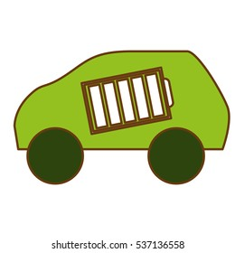 car with battery icon over white background. eco friendly car concept. colorful design. vector illustration