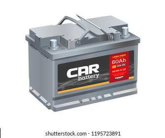 Car battery isolated on white background. Realistic vector.