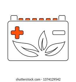 Car Battery With Leaf Icon. Thin Line With Red Fill Design. Vector Illustration.