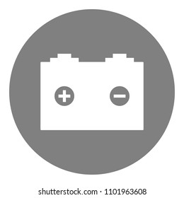 Car battery with plus and minus symbols. Vector icon.