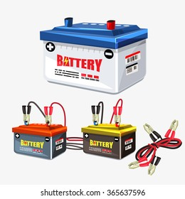 Car battery set. Jumper cable.two jumper cables clipped to the terminals - vector illustration