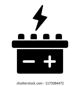 Car battery solid icon. Accumulator vector illustration isolated on white. Electricity glyph style design, designed for web and app. Eps 10