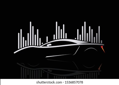 Car, Beat, Outline, Luxury, Music car, sports car,  lines of silhouette  logo design template