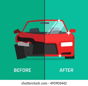 Car before and vehicle after repair vector illustration, crashed, broken and repaired car, automobile maintenance service or shop banner, flat cartoon design