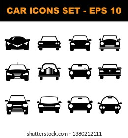 Car black icon set. Vehicle icon set- vector