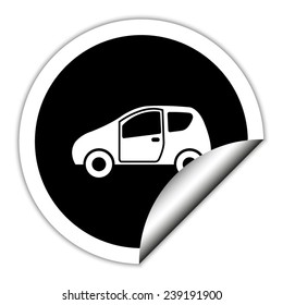 Car - black vector icon. Round sticker.