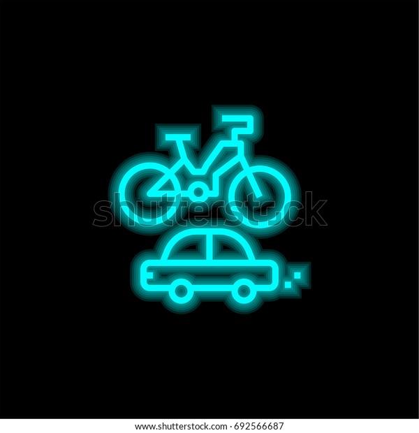 Car blue glowing neon ui ux icon. Glowing sign logo vector