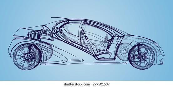 Car blueprint images stock photos vectors shutterstock car blueprint malvernweather Gallery