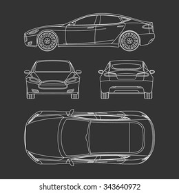 Car line draw blueprint front four stock vector 343640963 shutterstock car blueprint front four view side top back all malvernweather Gallery