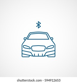 Car And Bluetooth Sign Blue Line Icon On White Background