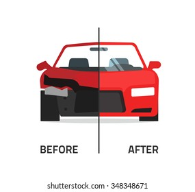 Car body frame repair vector illustration, auto body paint concept, automobile service, vehicle automotive technology help, before after, flat icon isolated on white badge, poster design banner emblem