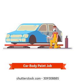 Car body paint job. Painting specialist spraying color on sealers masked auto. Car collision repair shop.  Flat style vector illustration isolated on white background.