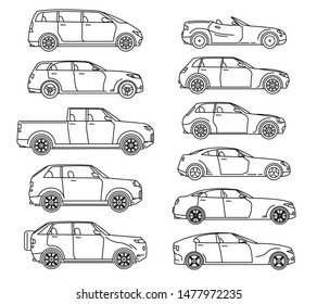 Car body style. Passenger Coupe. Outline Pickup, doodle Sedan Hatchback and Convertible SUV Minivan MPV. Three and five-door auto. Set of Monoline icons for web and mobile UI.