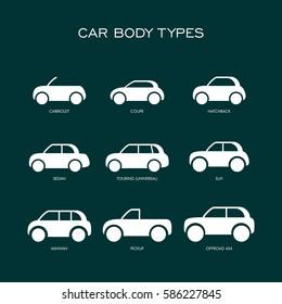 Car body type vector flat style illustration icon set.