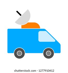 Car Broadcasting icon - Car Broadcasting  isolated , vehicle antenna navigation illustration- Vector broadcasting vehicle