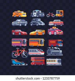 Car and bus pixel art set. Transport icons police car and yellow bus locomotive bicycle truck sled taxi isolated vector. Logo transport company. 8-bit. Game assets. Design for sticker, app.