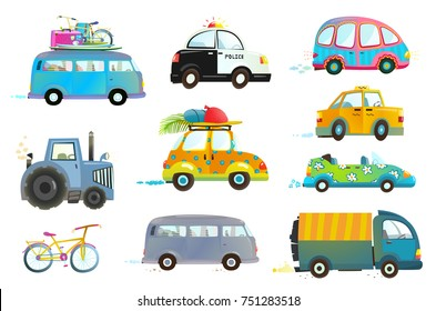 Car Bus Taxi Police Truck Bicycle Clipart. Transportation vehicles collection isolated objects. Vector illustration.
