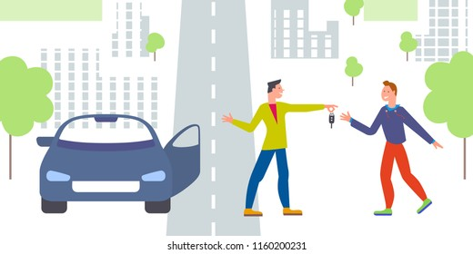 Car business sharing service concept, car rental illustration. Man gives car key to driver. Modern flat style design. Abstract urban background. Map pointer sign steering wheel