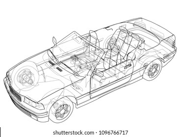 Car cabriolet concept. Vector rendering of 3d. Wire-frame style. The layers of visible and invisible lines are separated