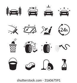 Car Care and Wash Objects icons Set, Black and white, Silhouette, Automobile