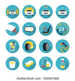 Car Care and Wash Objects icons Set, Flat Design, Automobile