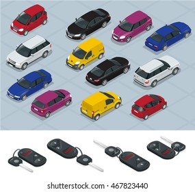 Car and Carkeys icons. Flat 3d isometric vector high quality city transport car icon set.