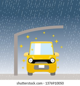 Car and carport illustration, garage, car roof, small car, Car does not get wet in the roof