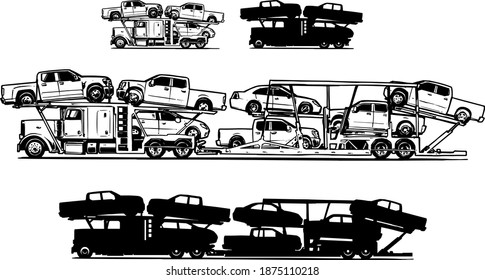 Car carrier trailer side view. Black and white illustration. Car hauler icon