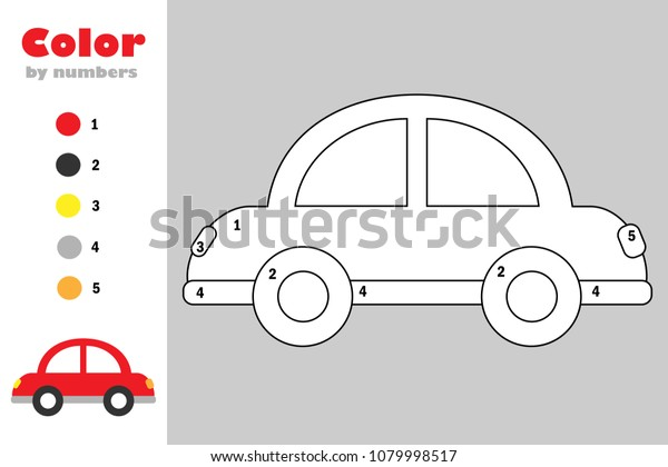 Car Cartoon Style Color By Number Stock Vector (Royalty Free ...